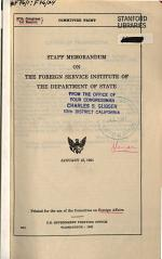Staff Memorandum on the Foreign Service Institute of the Department of State