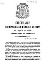 Circulaire de Monseigneur l'évêque du Mans concernant la liturgie