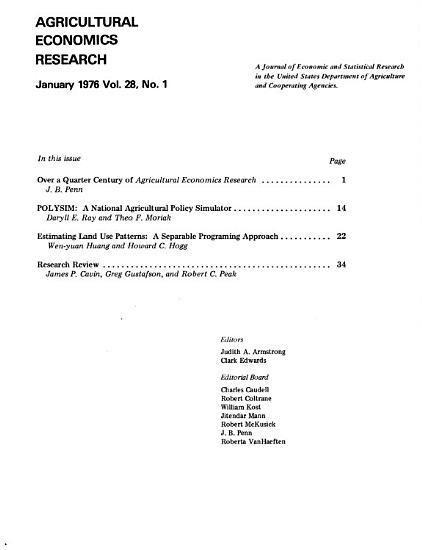 Agricultural Economics Research PDF