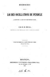 Recherches sur la loi des oscillations du pendule à suspension á lames des chronomètres fixes