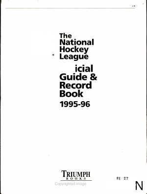 The NHL Official Guide and Record Book 1995 1996
