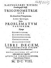 Trigonometria Sive De dimensione Triangulorum