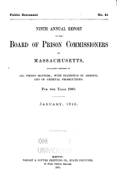 First[-fifteenth] Annual Report of the Board of Prison Commissioners of Massachusetts ..