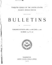 Bulletins of the twelfth census of the United States: issued from October 6, 1900 to [October 20, 1902] ... number 4 [-247], Issues 164-208