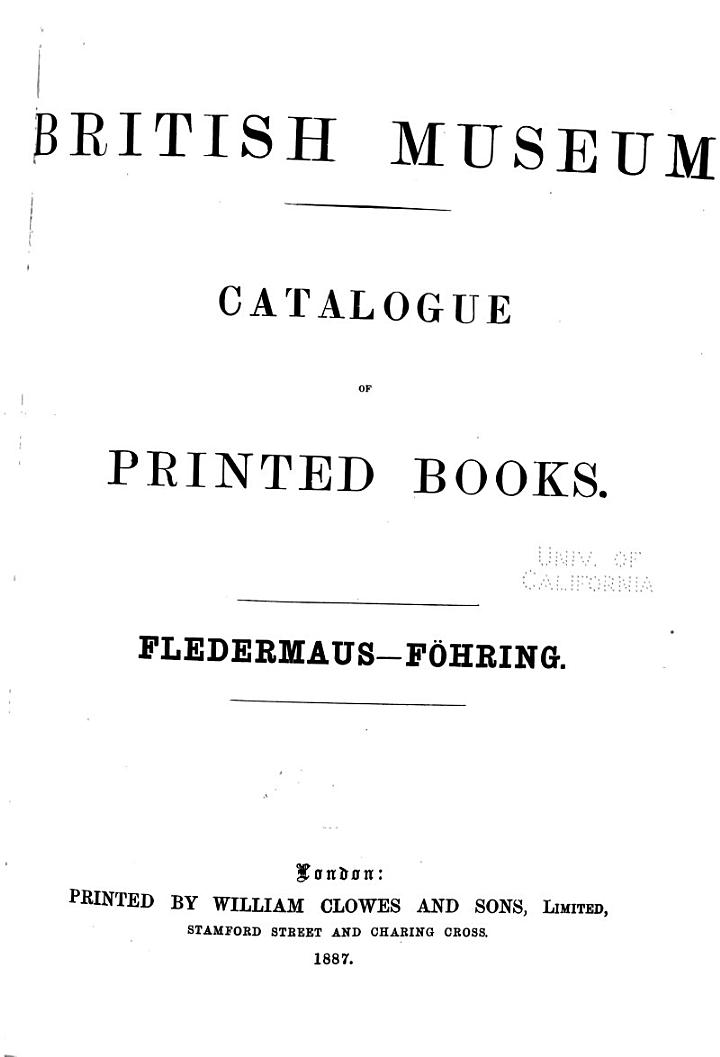 Catalogue of Printed Books in the Library of the British Museum