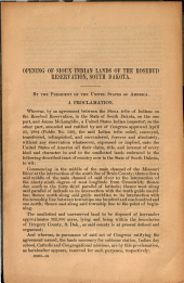 Opening of Sioux Indian Lands of the Rosebud Reservation, South Dakota