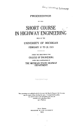Proceedings of the Annual Michigan Highway Conference: Volumes 1-6