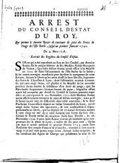 Arrest du Conseil d'Estat du Roy, qui parmet à Antoine Rozier de continuer de joüir des Droits de Peage de l'Isle-Barbe, jusqu'au premier janvier 1740, du 4 mars 1738...
