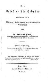 Der Brief an die Hebräer: Band 2,Teil 1