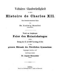 Voltaires Glaubw  rdigkeit in seiner Histoire de Charles XII     PDF