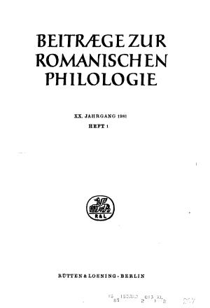 Beitr  ge zur romanischen Philologie PDF
