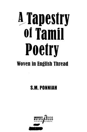 A Tapestry of Tamil Poetry PDF