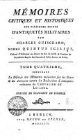 M  MOIRES CRITIQUES ET HISTORIQUES SUR PLUSIEURS POINTS D ANTIQUIT  S MILITAIRES PDF