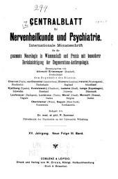 Zentralblatt für Nervenheilkunde und Psychiatrie: Band 3;Band 15