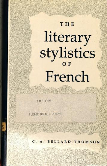The Literary Stylistics of French PDF