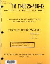 Operator and Organizational Maintenance Manual: Test Set, Radio AN/VRM-1