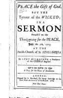 Peace the gift of God  but the terrour of the wicked  in a sermon  on Isaiah lvii  19 21  preach d on the thanksgiving for the Peace  July the 7th  1713 PDF