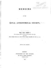 Memoirs of the Royal Astronomical Society: Volumes 21-23