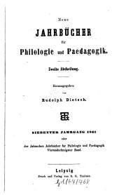 Neue Jahrbücher für Philologie und Pädagogik: Band 84