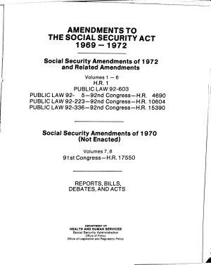 Social Security Amendments of 1972 aed related amendments
