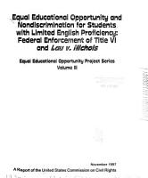 Equal Educational Opportunity and Nondiscrimination for Students with Limited English Proficiency PDF