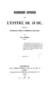 Recherches critiques sur l'épître de Jude