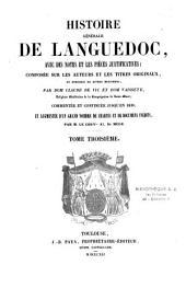 Histoire générale de Languedoc: avec des notes et les pièces justificatives, composée, Volume3