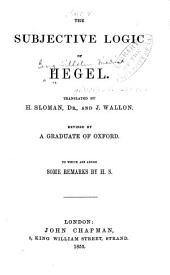 The Subjective Logic of Hegel