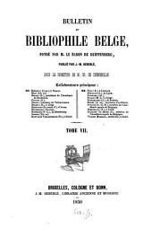Bulletin du bibliophile belge: Volume7