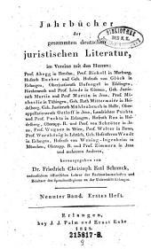 Jahrbücher der gesammten deutschen juristischen Literatur: Band 9