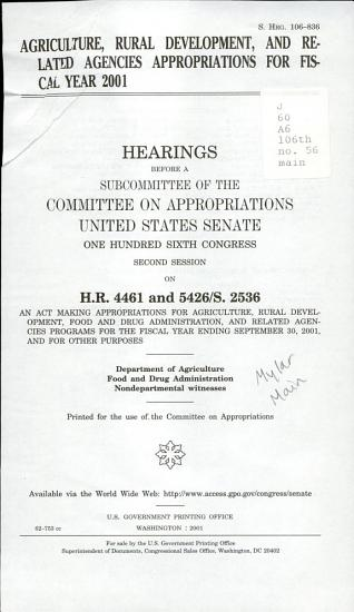 Agriculture  Rural Development  and Related Agencies Appropriations for Fiscal Year 2001 PDF