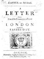 Easter not mis timed  a letter written out of the Country  by J  Pell  to a friend in London concerning Easterday PDF