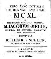 De vero anno initiali hodiernae Lvbecae MCXL.