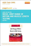 Joint Range of Motion and Muscle Length Testing   Pageburst E Book on Kno  Retail Access Card