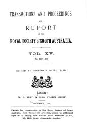 Transactions of the Royal Society of South Australia: Volume 15