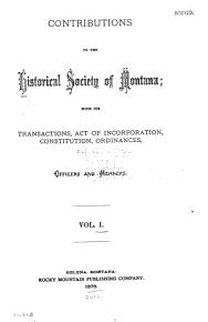 Contributions to the Historical Society of Montana PDF