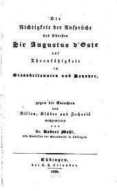 Die Nichtigkeit der Ansprüche des Obersten Sir Augustus d'Este auf Thronfähigkeit in Großbritanien und Hanover gegen die Gutachten von Dillon, Klüber und Zachariä nachgewiesen