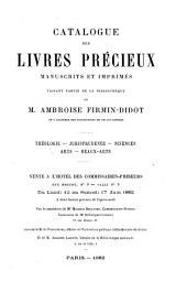 Catalogue des livres precieux manuscrits et imprimés faisant partie de la bibliothèque de m. Ambroise Firmin-Didot: table alphabétique des noms d'auteurs & des ouvrages anonymes, suivie de la liste des prix d'adjudication, Volume4