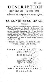 Géographie générale, historique, géographique et physique de la colonie de Surinam