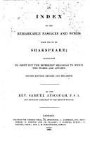 An index to the remarkable passages and words made use of by Shakespeare PDF