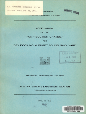 Model Study of the Pump Suction Chamber for Dry Dock No  4  Puget Sound Navy Yard
