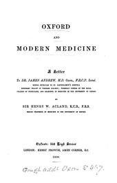 Oxford and Modern Medicine: A Letter to Dr. James Andrew