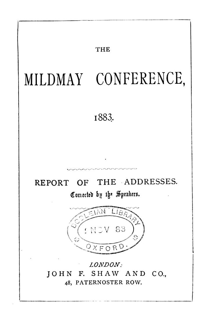 Report of the Mildmay park conference