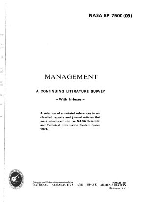 Management  a Continuing Literature Survey with Indexes PDF