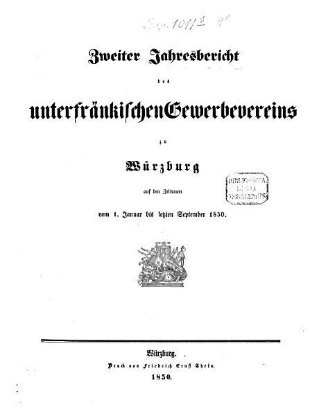 Jahresbericht des Unterfr  nkischen Gewerbevereins zu W  rzburg