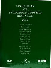 Frontiers of Entrepreneurship Research