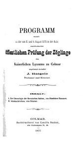 Programm des Lyceums in Colmar0: für das Schuljahr .... 1874/75,3