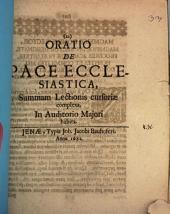 Oratio de pace ecclesiastica