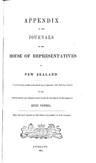 Appendix to the Journals of the House of Representatives of New Zealand PDF