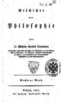 Geschichte der Philosophie von D  Wilhelm Gottlieb Tennemann    PDF